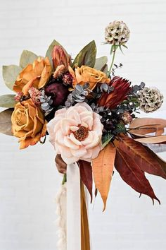 Create a stunning boho wedding bouquet for your fall wedding with affordable silk flowers from Afloral.com. #fakeflowers #fallwedding #weddingflowers #weddingbouquet Fall Bouquets, Fall Wedding Bouquets, Fall Wedding Flowers, Fall Wedding Colors, Bridal Flowers, Fall Flowers, Dried Flowers, Floral Wedding, Flower Bouquets