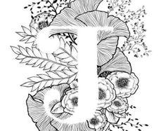 Kunstdruck von Buchstaben M mit floraler Hintergrund. Tolles Geschenk! Nachricht an mich für Anpassungen oder Auftragsarbeiten.  Schwarz und weiß Tinte, weitere Buchstaben des Alphabets in Kürze.