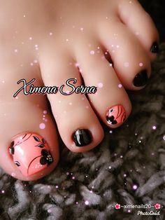 Feet Nail Design, Toe Nail Designs, Cute Toe Nails, Cute Toes, Feet Nails, Toenails, Pedicure Nail Art, Finger, Hair Beauty