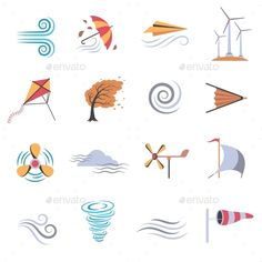 Wind Color Flat Icons — Vector EPS #bellows #media • Available here → https://graphicriver.net/item/wind-color-flat-icons/17270175?ref=pxcr