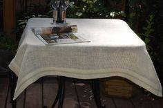 Hand embroidered burlap table cloth 43'' x 43'' by MountBlossom, $45.00
