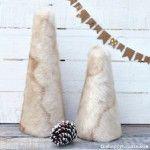 DIY Faux Fur Mini Christmas Trees