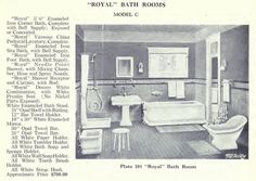 """The 1920 McAvity """"Royal"""" Bath Suite. It has a separate corner shower and a bit of colored tile in the wainscoting."""