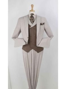 SKU#SM599 Mens Single breasted Brown 2 Button Pleated Wide Leg Pants Online Discounted Suit