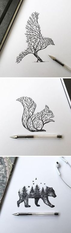 Dibujos Más illustration Pen & Ink Depictions of Trees Sprouting into Animals by Alfred Basha Easy Pencil Drawings, Easy Animal Drawings, Cool Drawings, Disney Drawings, Drawing Animals, Amazing Drawings, Beautiful Drawings, Drawing Sketches, Drawing Tips