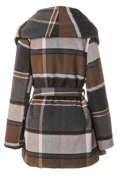 Block out that winter chill with this trendy plaidcoat! Product Code: CDY045 Details: Plaid pattern Big lapel Open front With lining With belt Regular wash Fa
