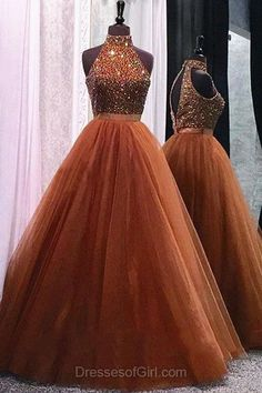 Beading Ball Gown Formal Dresses, Modest High Neck Prom Dresses, Open Back Party Gowns, Modest Ball Dresses, Unique Evening Dress
