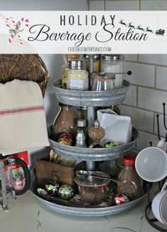 Holiday Beverage Station …… all the makings of your favorite warm beverages in one place! #diy..I just got this three tier stand for Christmas!