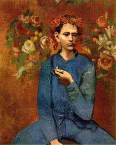 Pablo Picasso - Boy with a pipe  (Garçon à la Pipe)   It was painted in 1905 when Picasso was 24 years old, during his Rose Period, soon after he settled in the Montmartre section of Paris, France. The oil on canvas painting depicts a Parisian boy holding a pipe in his left hand and wearing a garland or wreath of flowers.