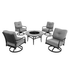 Hampton Bay Madison 5-Piece Patio Fire Pit Chat Set with Bare Cushions Model No 13H-001-5FSR-NF at The Home Depot $859.00 / set