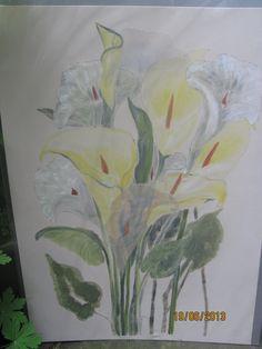 Seidenbild Silkpainting  handmade silkpainting Blumen auf Seide gemalt.........   Ursula Pauly