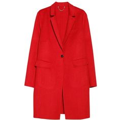 Violeta by Mango Shift Wool Blend Coat, Bright Red (195 CAD) ❤ liked on Polyvore featuring outerwear, coats, jackets, casacos, red coat, plus size coats, plus size wool blend coats, womens plus coats and long sleeve coat