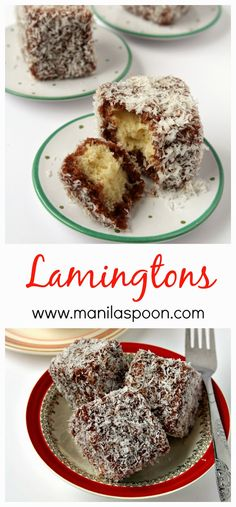 Lamingtons - Delicious sponge cake dipped in chocolate sauce and then covered with shredded coconut– what's not to love? Perfect little cakes for Thanksgiving, Christmas or any holiday! Just Desserts, Delicious Desserts, Yummy Food, Baking Recipes, Cake Recipes, Dessert Recipes, Australian Food, Just Cakes, Little Cakes