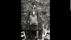 """A soldier demonstrates an ungainly French gas mask. """"French masks were notoriously unreliable,""""<a href=""""http://www.ncbi.nlm.nih.gov/pmc/articles/PMC2376985/"""" target=""""_blank""""> wrote</a> historian Gerald Fitzgerald."""