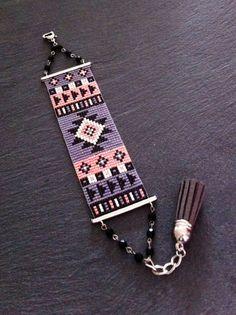 Bracelet Manchette Motif Aztèque Orange Fluo, Violet, Noir et Argenté !