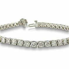 14K White Gold 10 Carat Diamond Tennis Bracelet 7 Inches - Gemologica, A Fine Online Jewelry Store