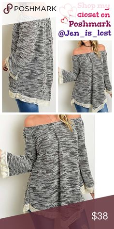 """Long Sleeve Trim Shoulder Knit Top Small Long Sleeve Trim Shoulder Knit Top.  Pair it with skinny jeans or leggings throw on a chunky necklace and go styling out the door. Fabric Content: 95% POLYESTER 5% SPANDEX  Small measures  19"""" from arm pit to arm pit and 28"""" in length.  Has about a 2"""" stretch. 🚫No Trades🚫 ✅Reasonable Offers Are Considered✅ Use the blue offer button. Tops"""