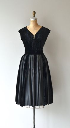 Vintage 1950s two-piece dress (can be worn separately!) with black silk velvet top with cap sleeves, rhinestone detail at the V neckline, full skirt