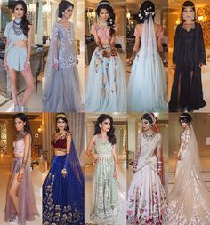 """The outfits as requested ❤️❤️❤️• 1) Fashion Photoshoot 2) Devotional Bhajans 3&4) Floral Fantasy Mehendi  5) Arabian Nights Welcome Dinner 6) Kingdom of…"""