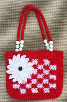 Crochet Flower Bag, Crochet Bag and Purses, Crochet Hand Bag, Crochet Bags, Crocheted Bag, Crochet Purses by kroshkame on Etsy