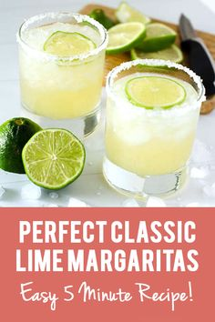 These classic lime margaritas are the perfect amount of sweet and tart. They're bright, refreshing, and the perfect compliment to your next taco night! No sour mix or oj necessary! These classic lime margaritas are simple and delicious. Original Margarita Recipe, Pitcher Margarita Recipe, Classic Margarita Recipe, Easy Margarita Recipe, Perfect Margarita, Skinny Margarita, Margarita Mix, Ultimate Margarita Recipe, Drink Recipes