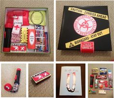 For my boyfriend and my 1 year I put together two passions of ours zombies and candy and created an epic zombie survival kit.
