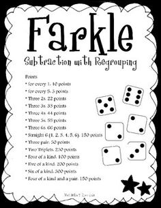 Farkle - subtraction with regrouping Family Card Games, Fun Card Games, Card Games For Kids, Math For Kids, Fun Math, Math Activities, Therapy Activities, Fun Games, Math Stations