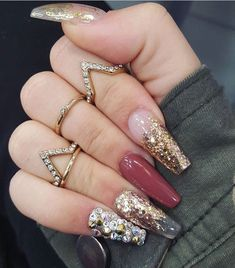 Clear tips, gold glitter, accent color, crystal nail art