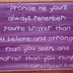 Winnie the Pooh Sign Promise Me Plaque Nursery New Baby Gift Purple Christopher Robin New babies Gifts $20.70| SleepyHollowPrims - Children's on ArtFire