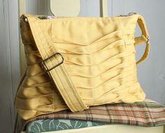 Handbag Purse Everyday Bag in Creamy Yellow Chevron by JulieMeyer