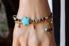 Brown and Red  Afghan Bead Ethnic Bracelet with Gold Chain,Turkish Jewelry
