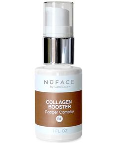 The NuFACE Collagen Booster with Copper Complex stimulates collagen formulation for maximum firming and tightening of skin and restores a natural glow and suppleness to aging or lackluster skin, helpi