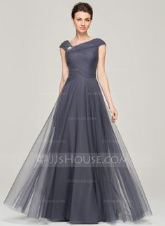 A-Line/Princess V-neck Floor-Length Tulle Mother of the Bride Dress With Beading Sequins (008062861)