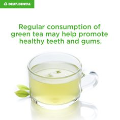 Regular consumption of green tea may help promote healthy teeth and gums. Healthy Teeth, Health Benefits, Glass Of Milk, Dental, Tea, Tableware, Green, Recipes, Food