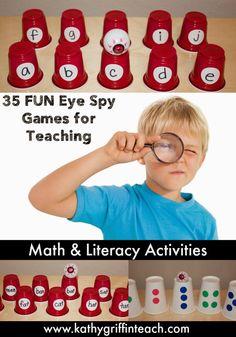 Kathy Griffin's Teaching Strategies: I Spy - Eye Spy Dollar Store Game Pre Reading Activities, Nursery Activities, Small Group Activities, Learning Games For Kids, Reading Games, Reading Room, Learning Centers, Math Centers, Preschool Literacy