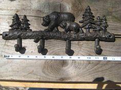 Cast Iron Bears & Pines Hook Bar Rack Lodge Cabin Rustic Scarf Hat Necklace Keys