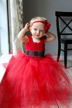 Red Christmas Dress/ Crochet Tutu Dress/ Handmade Dress, Valentines Day Dress, Baby Tutu, Girl's Holiday Dress by LittleBayBlueDesigns