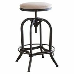 """Showcasing an adjustable metal frame and linen-upholstered seat, this industrial-chic barstool adds a stylish touch to your game room or kitchen counter.  Product: BarstoolConstruction Material: Iron and linenColor: BlackFeatures: 360 Degree swivel Adjustable heightStudded detailsDimensions: 27-30"""" H x 19"""" Diameter"""