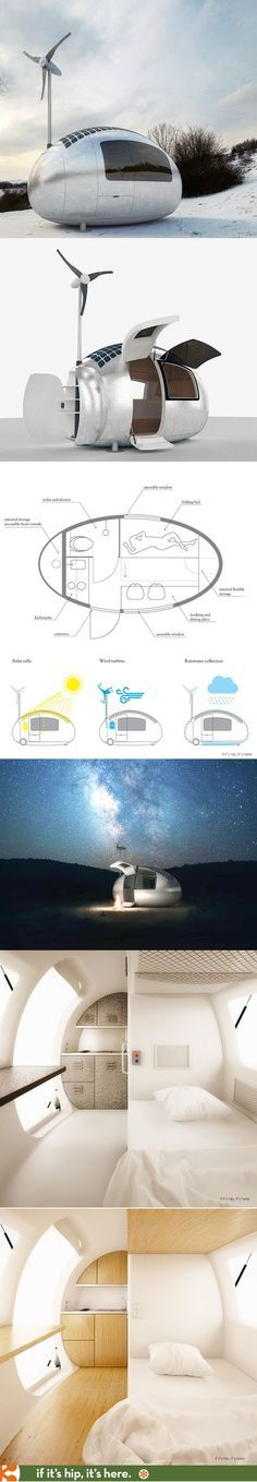 The solar and wind powered Ecocapsule with kitchenette, toilet, shower and warm bed. http://calgary.isgreen.ca