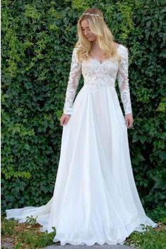 A-Line V-Neck Long Sleeves Wedding Dress with Lace Appliques Wedding Dresses Lace, Ivory Wedding Dresses, V Neck Wedding Dresses, A-Line Wedding Dresses, Long Sleeves Wedding Dresses Wedding Dresses 2018 Chapel Wedding Dresses, Lace Beach Wedding Dress, Western Wedding Dresses, V Neck Wedding Dress, Princess Wedding Dresses, Modest Wedding Dresses, Designer Wedding Dresses, Lace Wedding, Wedding Gowns