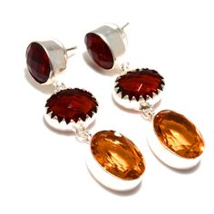 Silver Earrings – Earrings-Bohemian Citrine & Garnet Stone Ea... – a unique product by 925silvercollection on DaWanda