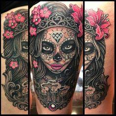 Badass Sugar skull tattoo
