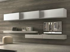 Download the catalogue and request prices of sectional wall-mounted tv wall system #262, design Pierangelo Sciuto, Inclinart Ecomalta® collection to manufacturer Presotto Industrie Mobili