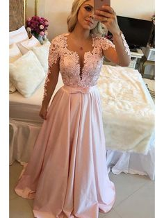 Long Sleeves Beaded Lace Prom Evening Party Dresses 99602663