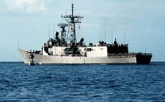 USS Stark (FFG-31), an Oliver Hazard Perry class guided missile frigate.  This one was hit in 1987 by two Exocet missiles fired by an Iraqi fighter.  37 sailors were killed in the attack, although the ship did survive.