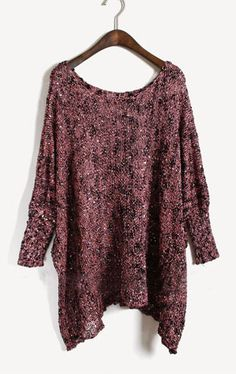 Purple Batwing Long Sleeve Sequined Loose Sweater