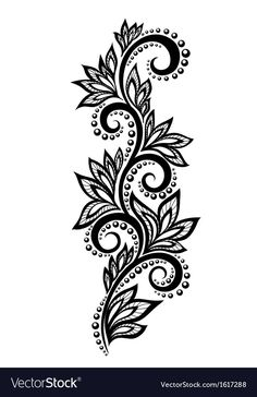 Isolated floral design element With the effect of lace eyelets.Illustration of black and white flowers and leaves Floral design element in retro style vector art, clipart and stock vectors. lace EPS clipart vector and stock illustrations available to Design Floral, Lace Design, Floral Motif, Hand Embroidery Designs, Floral Embroidery, Beaded Embroidery, Embroidery Patterns, Lace Tattoo Design, Henna Tattoo Designs