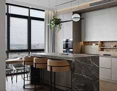 Architecture Visualization, Architecture Design, Gold Interior, Saint Petersburg, Interior Design Studio, Clarity, Dining Room, Kitchen, Table