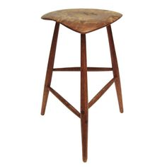 Rare Wharton Esherick Studio Walnut and Oak Stool, 1966 | From a unique collection of antique and modern stools at https://www.1stdibs.com/furniture/seating/stools/