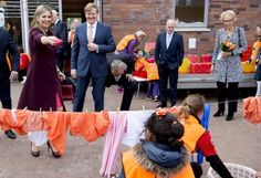 On April 22, 2016, Queen Maxima and King Willem-Alexander of The Netherlands attend the Koningsspelen (King Games) at primary school Drostenburg for children with an disability in Amsterdam, The Netherlands.